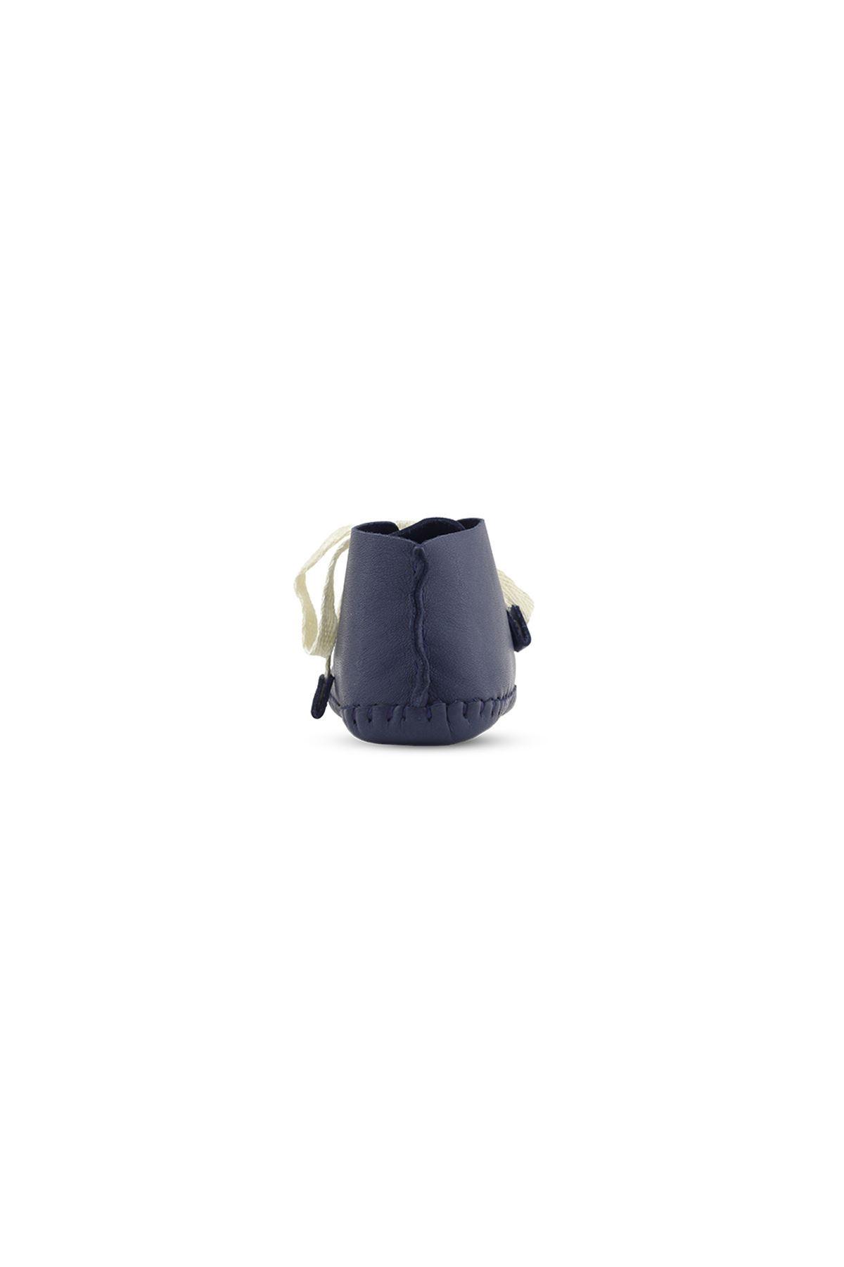 BB02 Lacivert Hakiki Deri Unisex Bebek Patik İlk Adım Ev Ayakkabısı