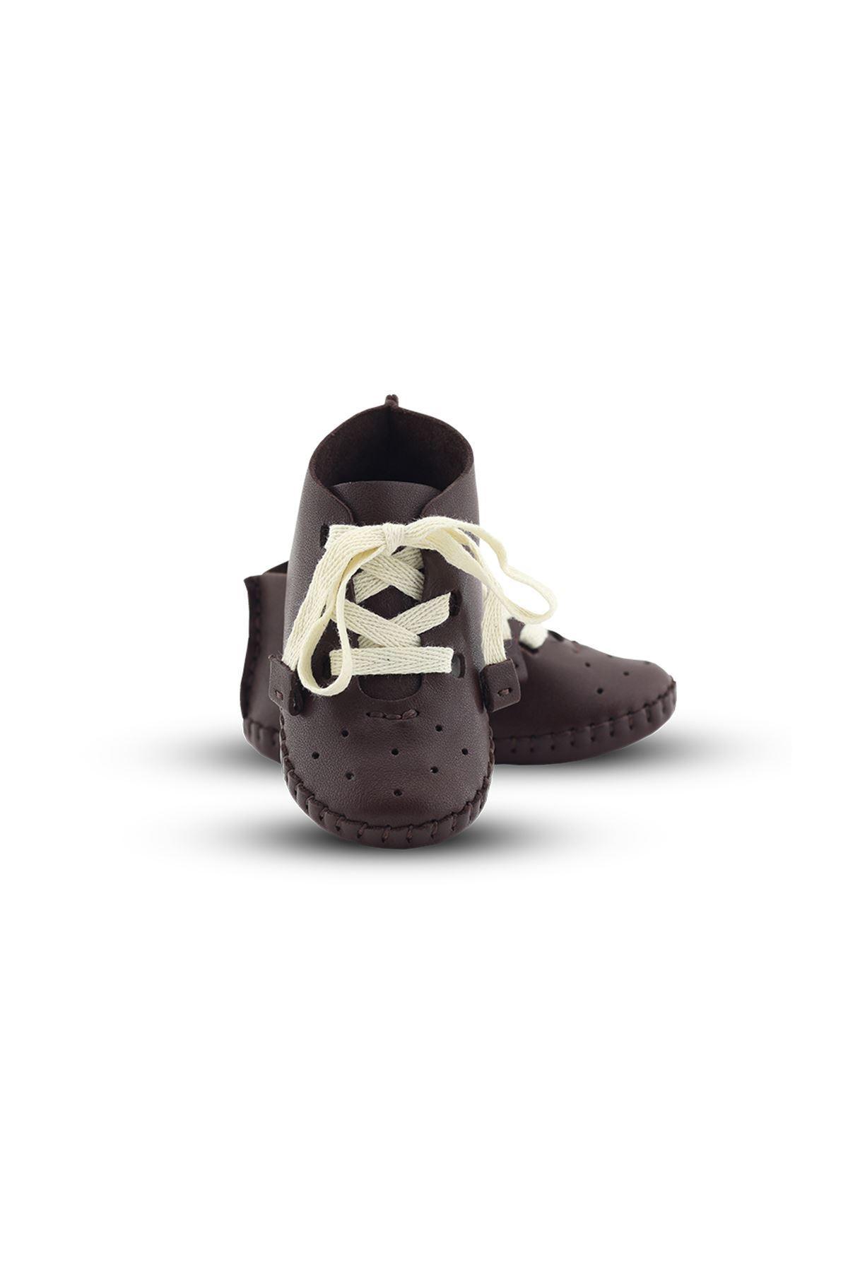 BB02 Kahve Hakiki Deri Unisex Bebek Patik İlk Adım Ev Ayakkabısı