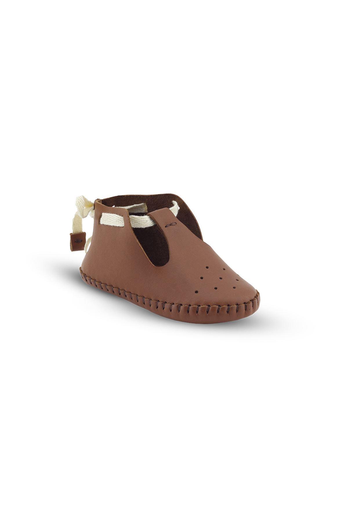 BB03 Taba Hakiki Deri Unisex Bebek Patik İlk Adım Ev Ayakkabısı