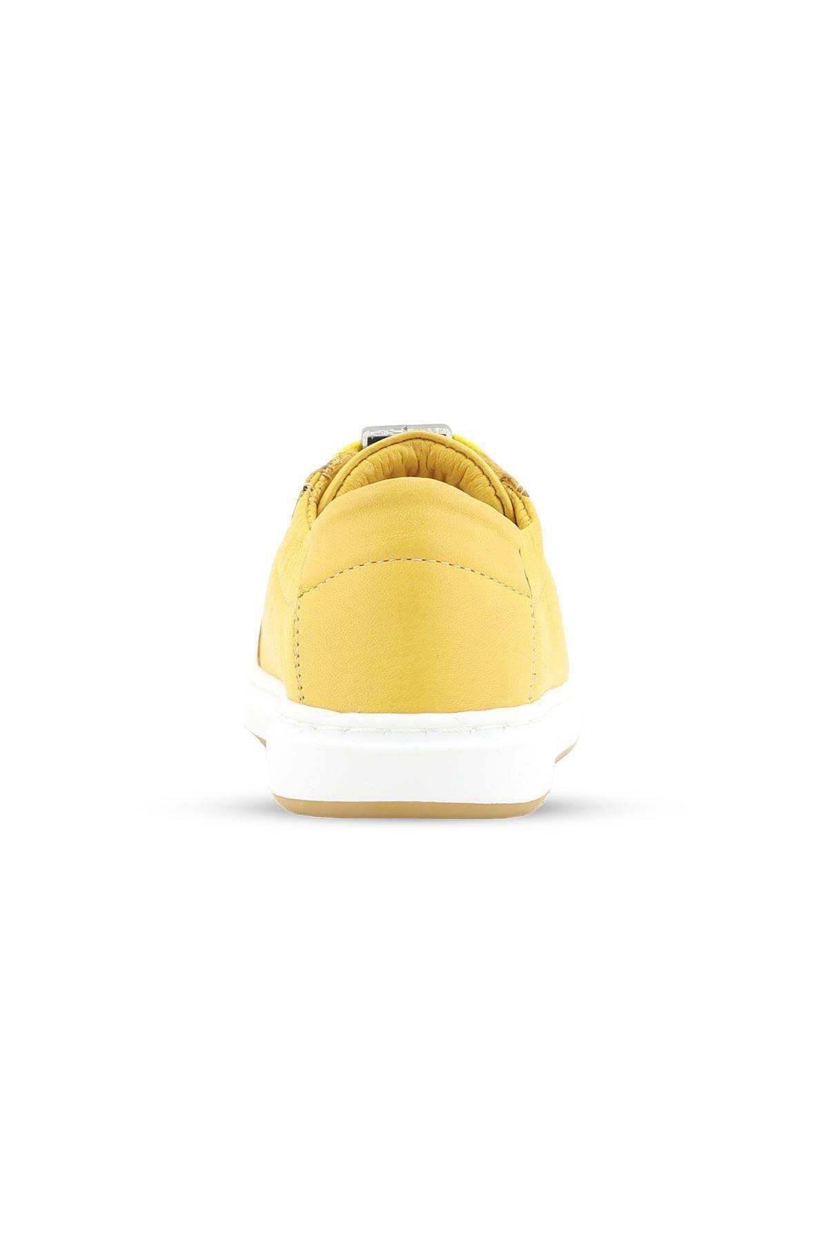 Sarı Hakiki Deri Bebek/Çocuk ilk Adım Günlük Spor Ayakkabı - BB0405 SARI